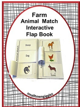 Farm Animal Interactive Flap Book  Farm Animals Matching Kindergarten