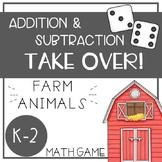 Farm Animal Math Game - Addition and Subtraction TAKE OVER! - EDITABLE