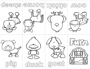 Farm Animal Mini Coloring Book by Positive Counseling | TpT