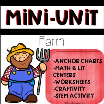 Kindergarten Farm Animal Mini Unit with Math and Literacy Centers