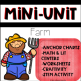 Kindergarten STEM Farm Animal Mini Unit with Math and Lite