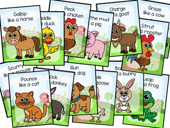 Farm Animal Movement Cards for Preschool and Brain Break