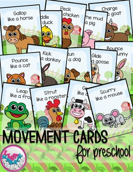 Farm Animal Movement Cards for Preschool
