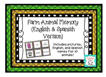 Farm Animal Name Memory Game {English & Spanish Version}