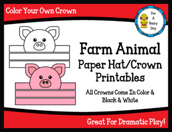 Farm Animal Paper Hat/Crown Printables