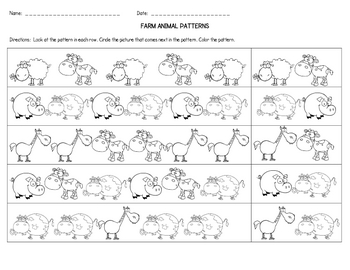 farm animal patterns by callie redden teachers pay teachers