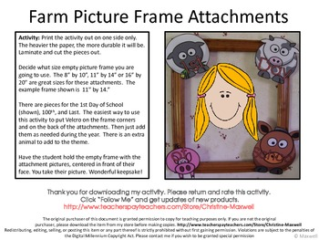 Farm Animal Picture Frame Attachments First Day, 100th Day, & Last Day Of School