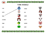 Farm Animal Picture-Word Match - 1 Page