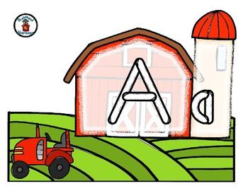 Farm / Animal -  Play Dough Manipulative Mats - Alphabet Numbers Colors Shapes