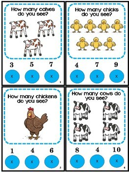 Counting Numbers 1-12 Farm Animals Poke Game