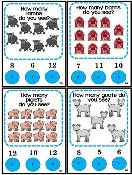 Math Center Counting Numbers 1-12 Farm Animals Poke Game