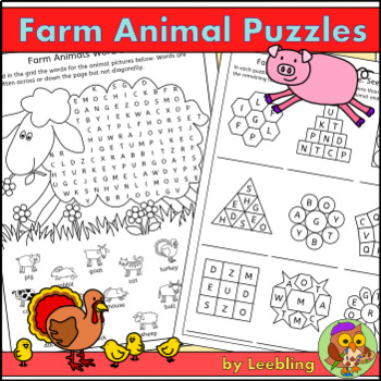 Farm Animal Puzzle Activities – Crossword, Word Search and more