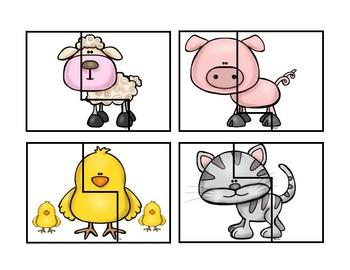 Farm Animal Puzzle Cards