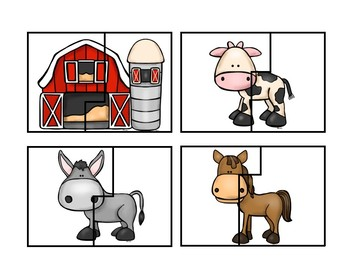 Farm Animal Puzzle Cards