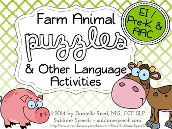Farm Animal Puzzles and Other Language Activities