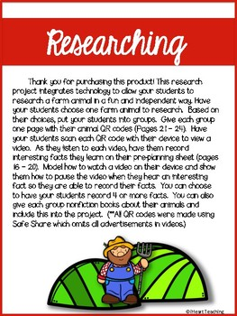 Farm Animal Research Project with QR Codes