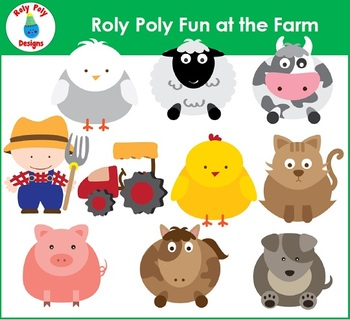 Farm Animal Roly Poly Buddies Clip Art by Roly Poly Designs