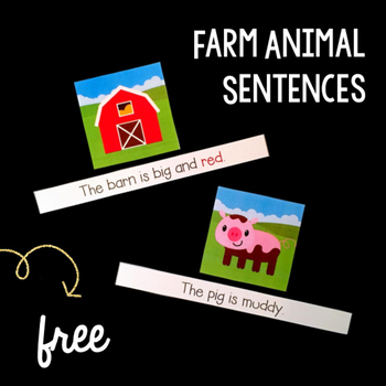 Farm Animal Sentences Literacy Center {FREEBIE!}