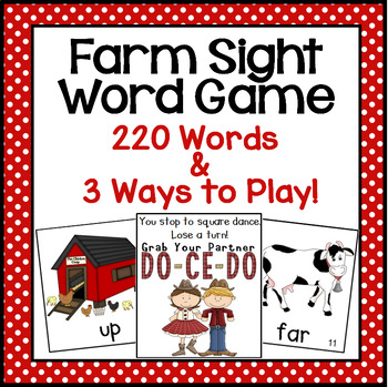 Farm Animal Sight Word Game (Dolch Word Lists 1-11)