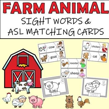 Farm Animal Sight Words and ASL Matching Cards - Bonus Colouring Sheets