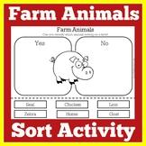 Farm Animal Sorting Activity | Farm Animals Cut and Paste | Kindergarten