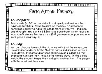 Farm Animal Sounds Memory