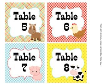 Farm Animal Table Numbers