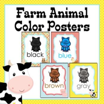 Farm Animal Theme Color Posters