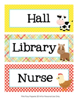 Farm Animal Theme Hall Passes