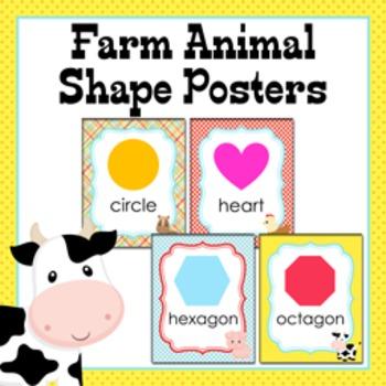 Farm Animal Theme Shape Posters
