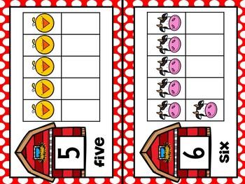 Farm Animal Theme Ten Frames #'s 1 - 20 - Half Page