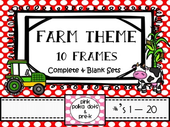 Farm Animal Theme Ten Frames #'s 1 - 20 - Half Page