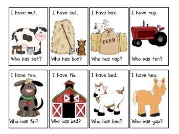Farm Animal Themed  I have...Who has..? CVC Word Game