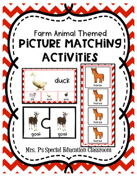Farm Animal Themed Picture Matching Activities