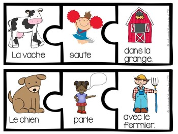 Farm Themed Sentence Builder Cards in French (la ferme)