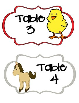 Farm Animal Themed Table Signs