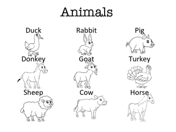 Farm Animal Vocabulary Unit