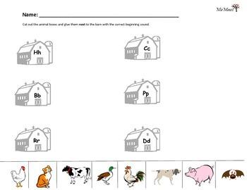 Farm Animal Word Beginning Sound Sort