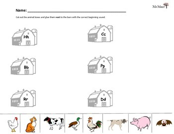 Farm Animal Word Beginning Sound Sort