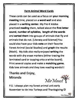 Farm Animal Word Cards