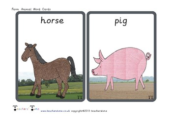 Farm Animal Word Cards