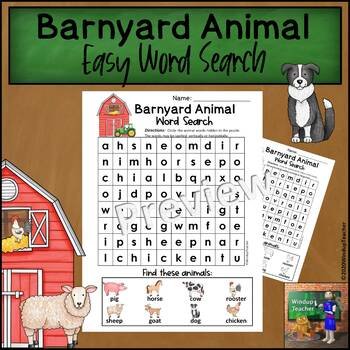 Farm Animal Word Search