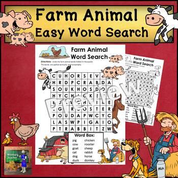 Farm Animal Word Search * EASY
