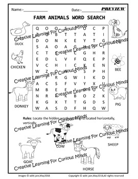 Farm Animal Word search Picture