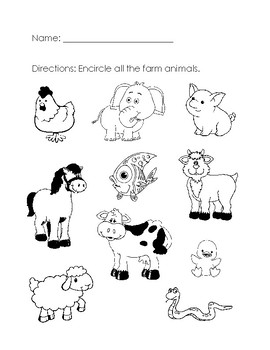 farm animals worksheet by aileen chu teachers pay teachers. Black Bedroom Furniture Sets. Home Design Ideas