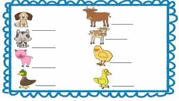 Farm Animal Write around the Room Printables