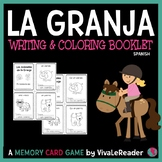 Farm Animal Writing and Coloring Card Booklet in Spanish/A