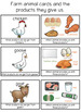 Farm animal products cards and more farm animal themed cards and activities