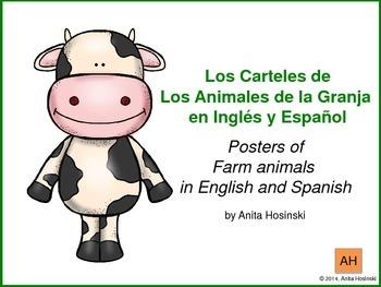 bilingual spanish posters farm animals theme