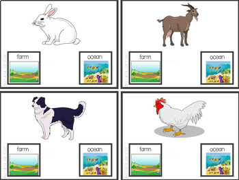 Farm Animal or Ocean Animal Task Card Set